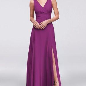 David's Bridal bridesmaid dress in Raspberry